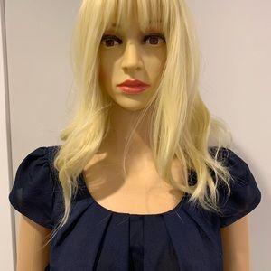 Francesca's Collections Tops - Francesca's navy cap sleeve blouse w back zipper